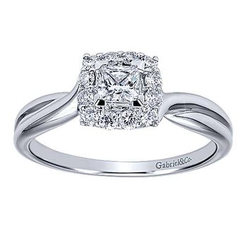 Adore Collection 14k White Gold Stella Princess Cut Diamond Halo Engagement Ring
