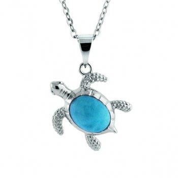 Alamea Sealife Collection Turtle Pendant with Larimar