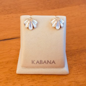 14k Yellow Gold Kabana White Mother of Pearl Shell Stud Earrings