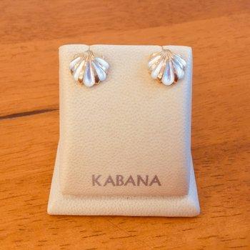 14k Yellow Gold Kabana White Mother of Pearl Shell Stud Earrings