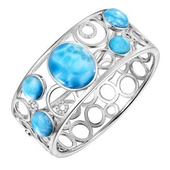 Alamea Larimar & White Sapphire Hindged Cuff Bangle Bracelet