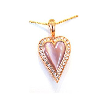 14k Rose Gold Heart Pendant with Pink Mother of Pearl Inlay and Diamonds