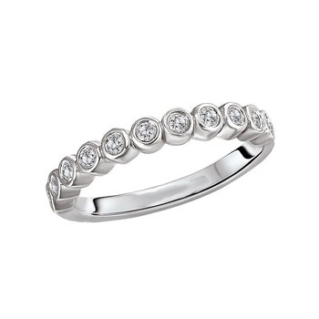 14k White Gold Bubble Diamond Wedding Band