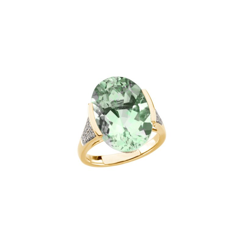 Signature Collection Genuine Green Quartz & Diamond Ring