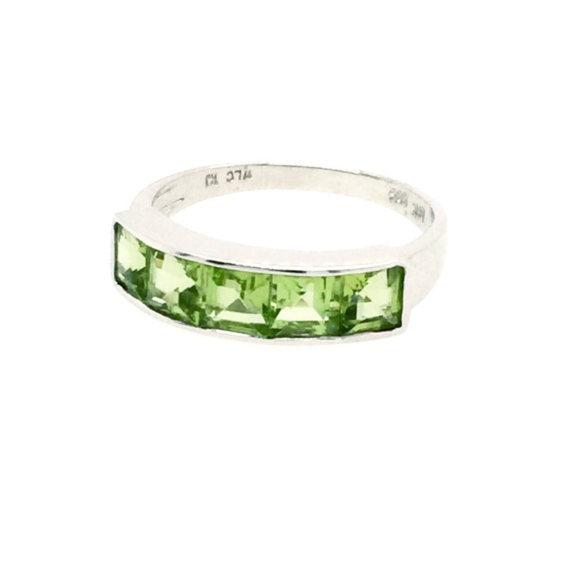 Signature Collection 14k White Gold Channel Set Square Peridot Ring