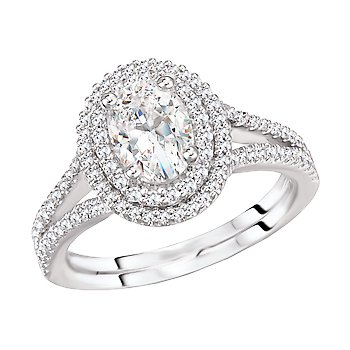 Oval Diamond Double Halo Split Shank Engagement Ring