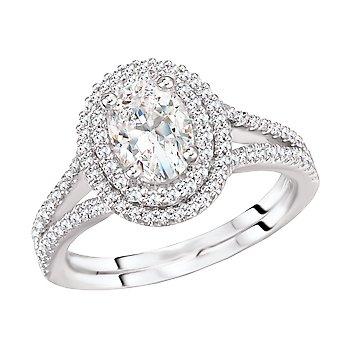 Oval Diamond Double Halo Split Shank Engagement Ring