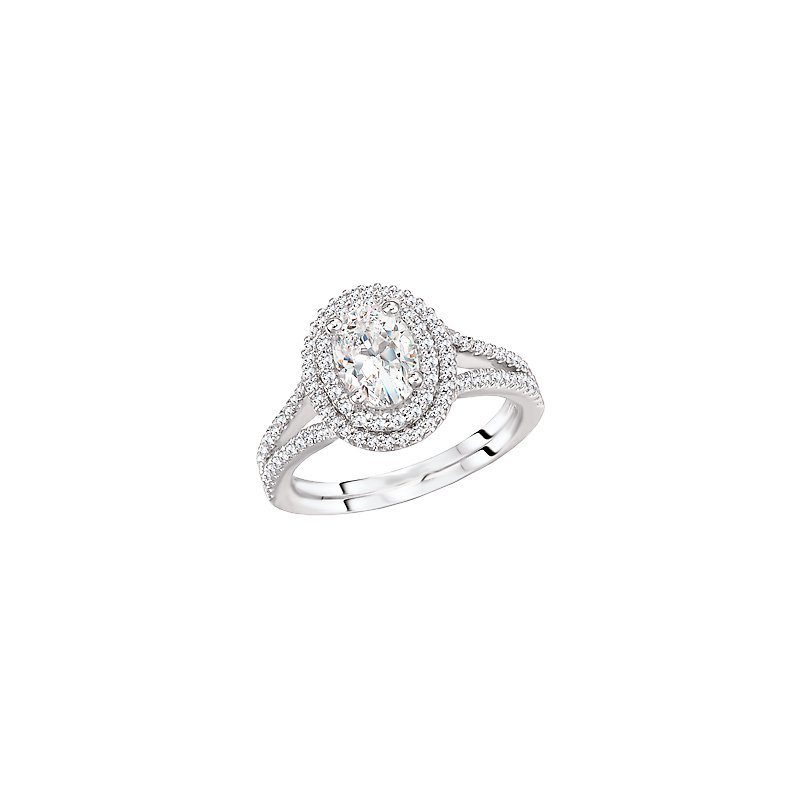Signature Collection Oval Diamond Double Halo Split Shank Engagement Ring