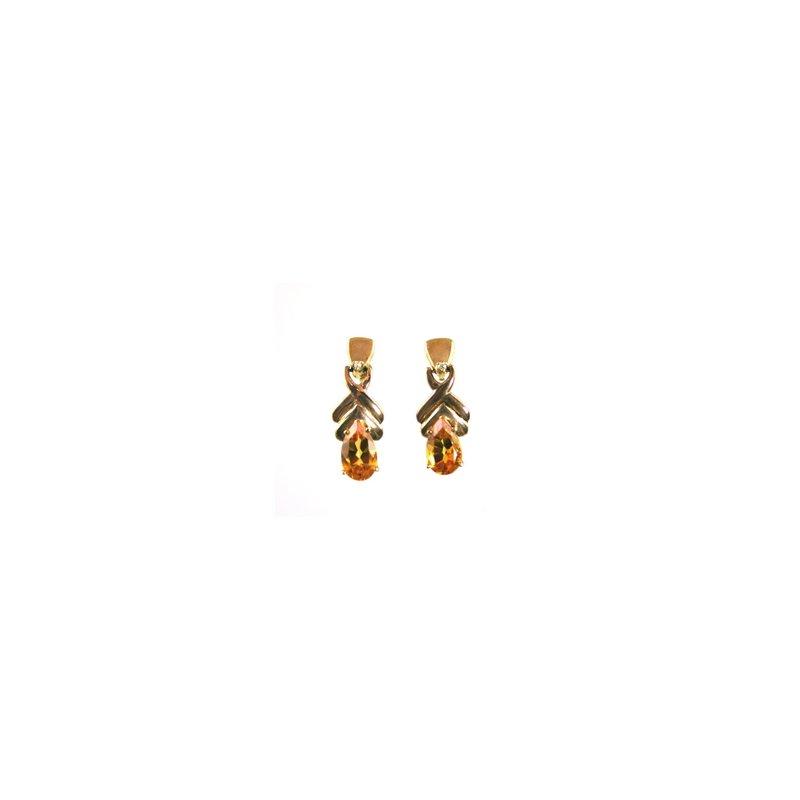Signature Collection Genuine Citrine & Diamond Earrings
