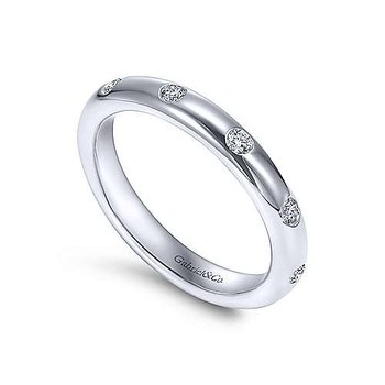 14k White Gold Flush Set Round Brilliant Diamond Eternity Ring Anniversary Band by Gabriel NY