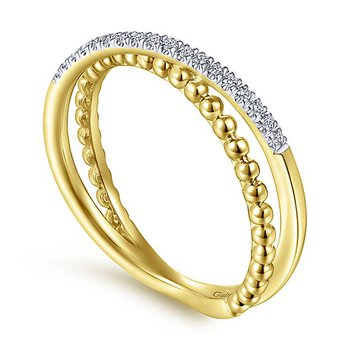 14k Yellow Gold Bujukan Collection Criss Cross Diamond Ring by Gabriel NY