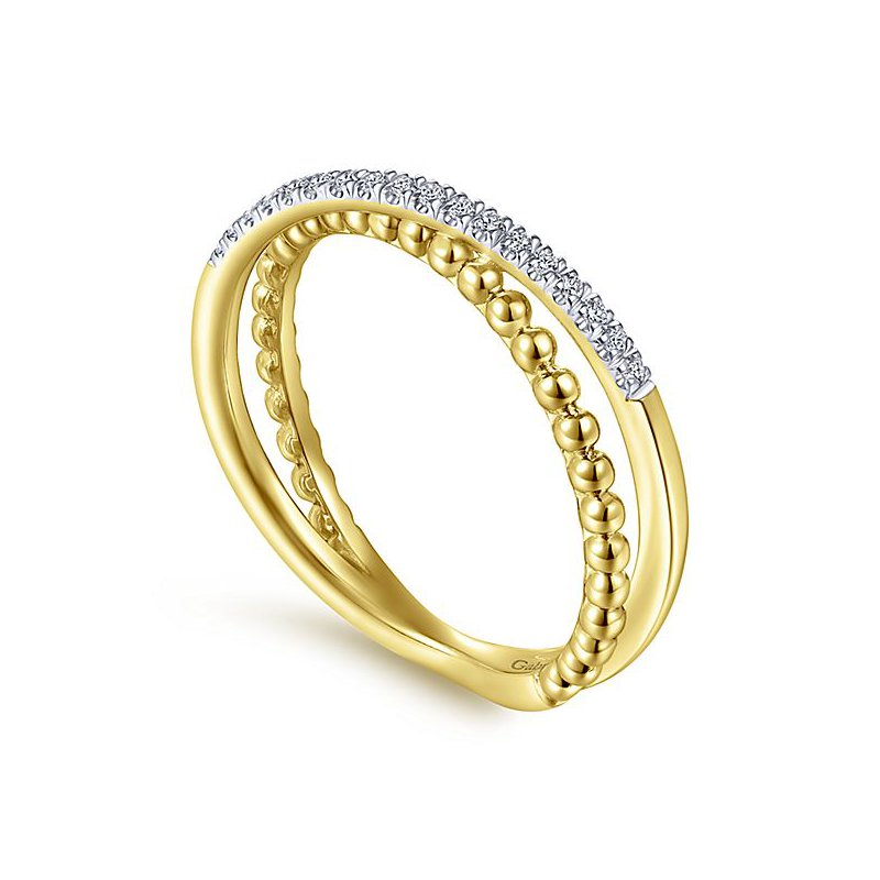 Signature Collection 14k Yellow Gold Bujukan Collection Criss Cross Diamond Ring by Gabriel NY