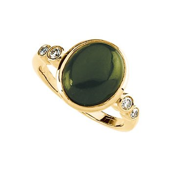 Genuine Jade & Diamond Ring