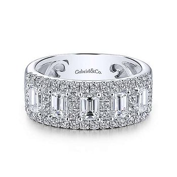 14k White Gold Emerald Cut Fancy Anniversary Band by Gabriel NY