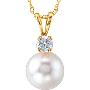 From the Pearl Collection 7mm Classic Akoya Pearl and Diamond Pendant