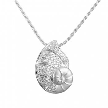 Alamea 14k White Gold Diamond Nautilus Shell Pendant