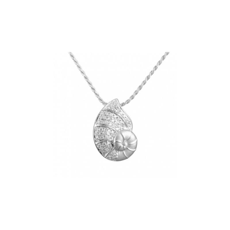 Sealife Jewelry Alamea 14k White Gold Diamond Nautilus Shell Pendant