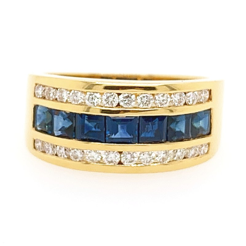 Signature Collection 18k Yellow Gold Square Channel Sapphire and Diamond Ring