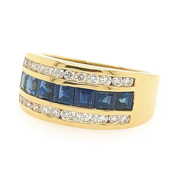 18k Yellow Gold Square Channel Sapphire and Diamond Ring