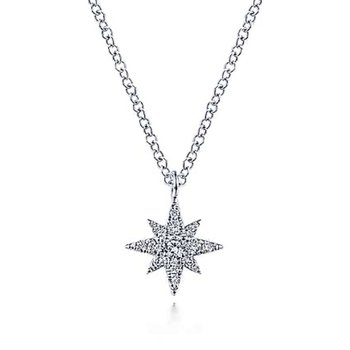 14k White Gold Diamond Star Necklace by Gabriel NY