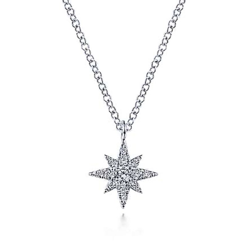 Signature Collection 14k White Gold Diamond Star Necklace by Gabriel NY