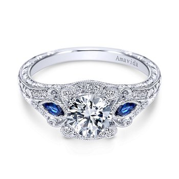 Platinum Vintage Style Sapphire and Diamond Engagement Ring from the Amavida Collection by Gabriel NY