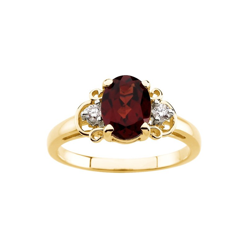 Signature Collection Genuine Mozambique Garnet & Diamond Ring
