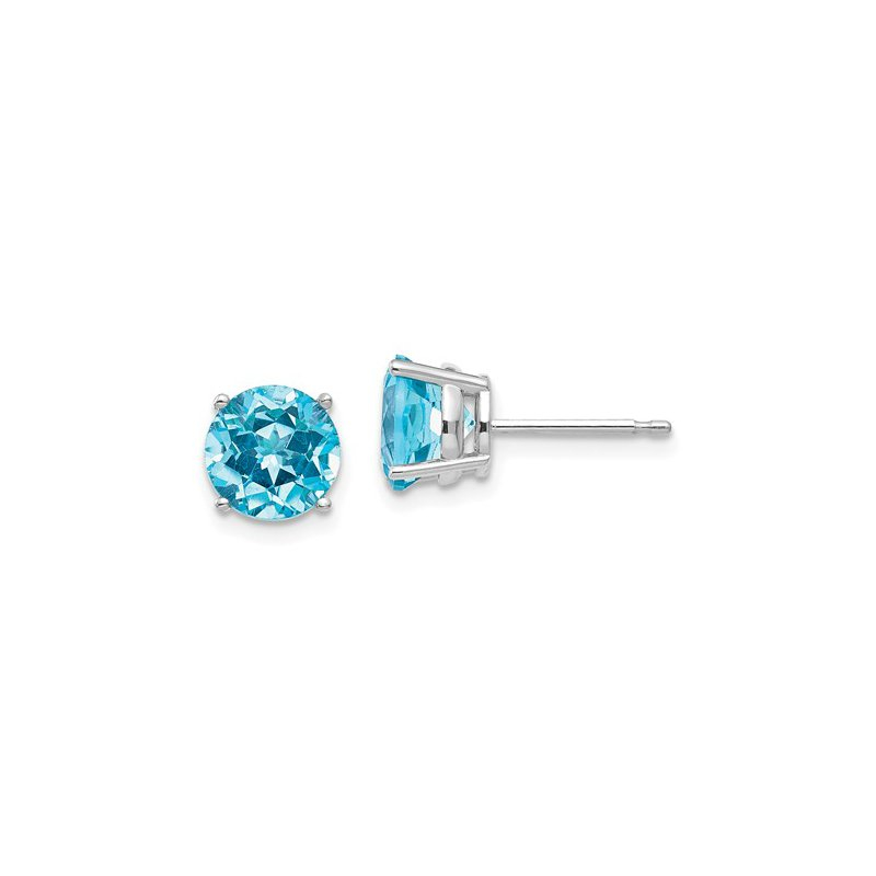 Signature Collection 14k White Gold 7mm Round Blue Topaz Stud Earrings.