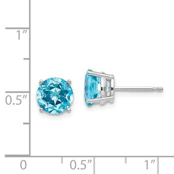 14k White Gold 7mm Round Blue Topaz Stud Earrings.