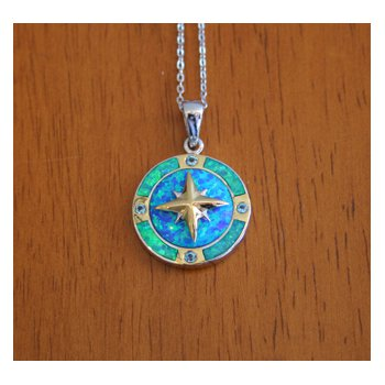 Kovel Ocean Jewelry Compass with Lab Created Blue Green Opal and Blue Topaz