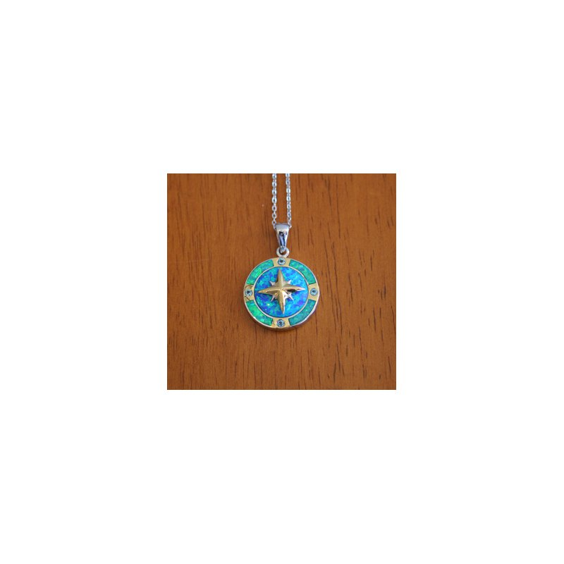 Kovel Sealife Kovel Ocean Jewelry Compass with Lab Created Blue Green Opal and Blue Topaz