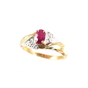 Genuine Ruby Ring in 14k Yellow Gold