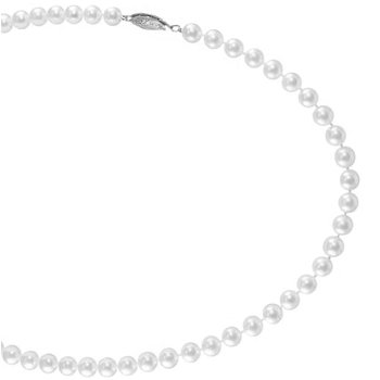 From the Pearl Collection 5.5-6mm White Akoya Cultured Pearl Strand with a 14k White Gold Filigree Clasp