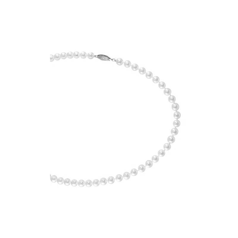 Signature Collection From the Pearl Collection 5.5-6mm White Akoya Cultured Pearl Strand with a 14k White Gold Filigree Clasp
