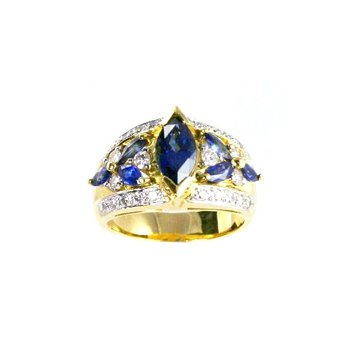 Genuine Blue Sapphire & Diamond Ring in 18k Gold - 17065