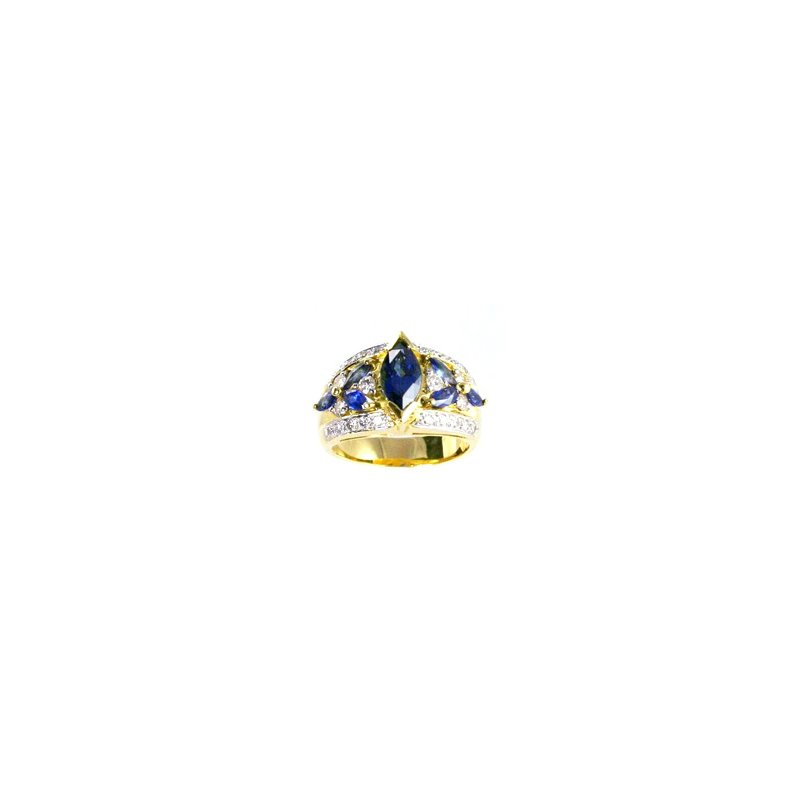 Signature Collection Genuine Blue Sapphire & Diamond Ring in 18k Gold - 17065
