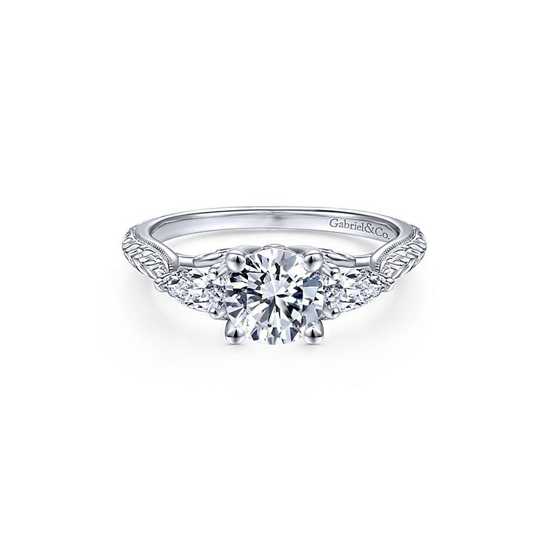 Gabriel NY 14k White Gold Art Deco Vintage Style Engagement Ring by Gabriel NY with Pear Shape Accent Diamonds