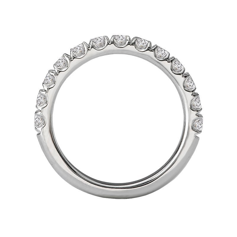 Signature Collection 14k White Gold Prong Set Diamond Wedding Band
