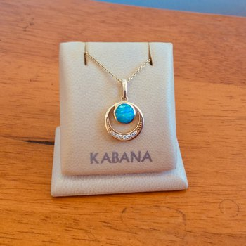 Kabana Circle Pendant with Australian Opal and Diamond