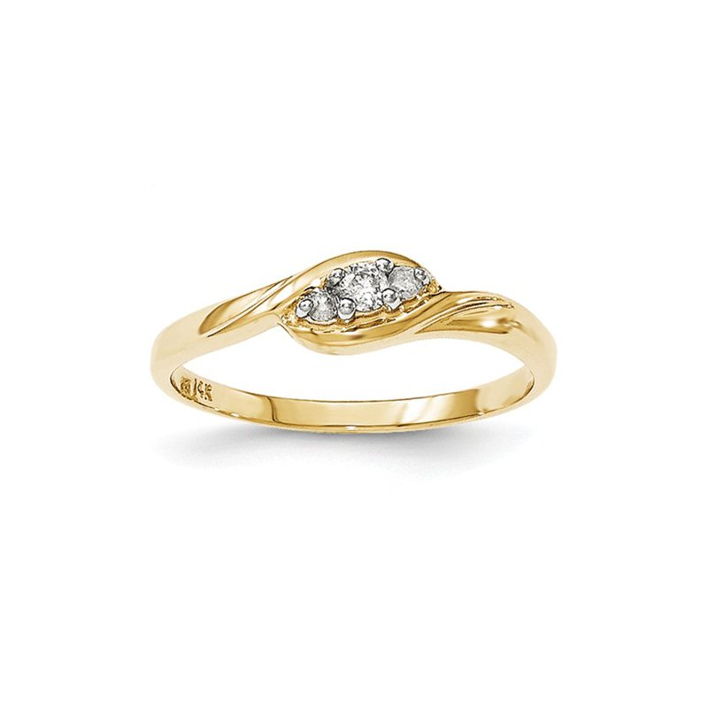 Signature Collection From the Promise Ring Collection 14k Yellow Gold Swirl 3-Stone Diamond Ring