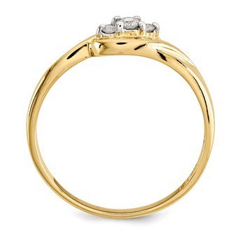From the Promise Ring Collection 14k Yellow Gold Swirl 3-Stone Diamond Ring