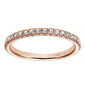 Amavida Collection by Gabriel NY 18k Rose Gold Straight Diamond Wedding Band