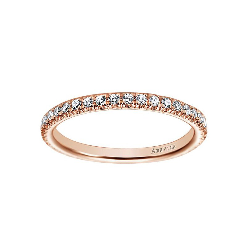 Gabriel NY Amavida Collection by Gabriel NY 18k Rose Gold Straight Diamond Wedding Band