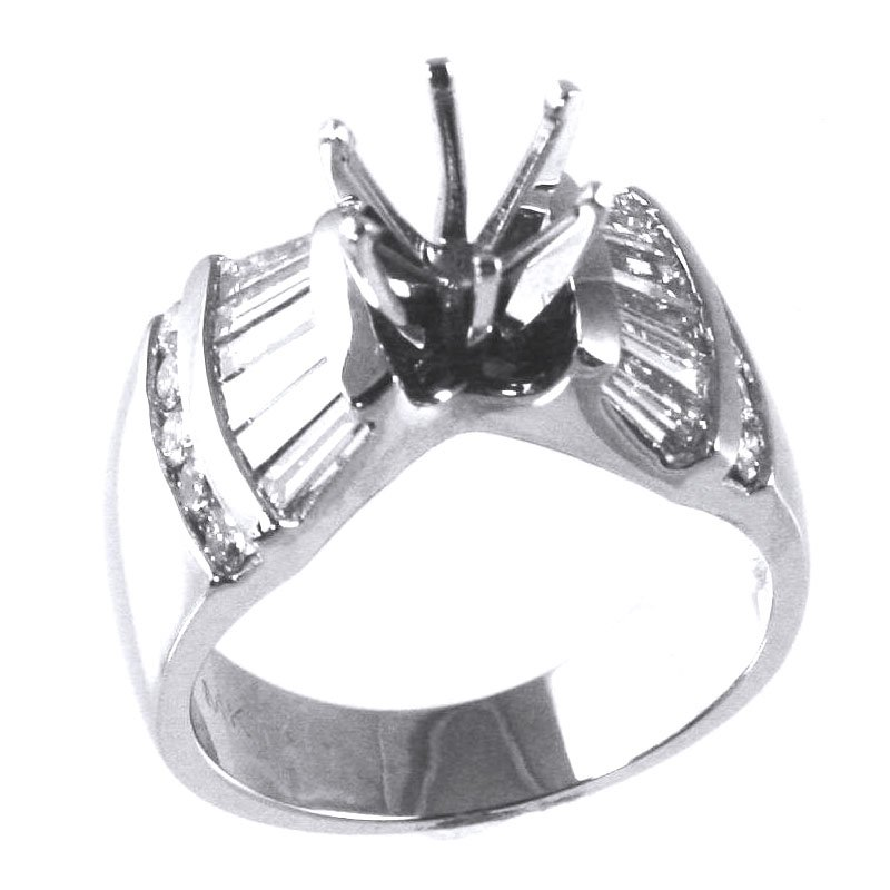 Signature Collection 18k White Gold Baguette and Round Diamond Engagement Ring - #27694