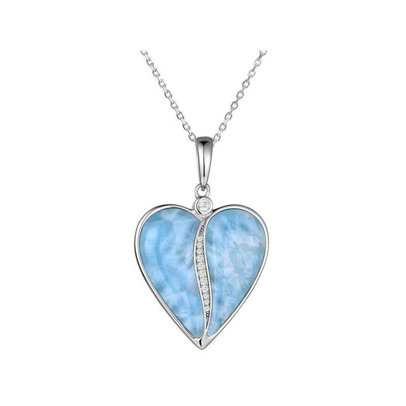 Alamea Larimar  Sterling Silver Larimar Heart Pendant with Pave' Cubic Zirconia