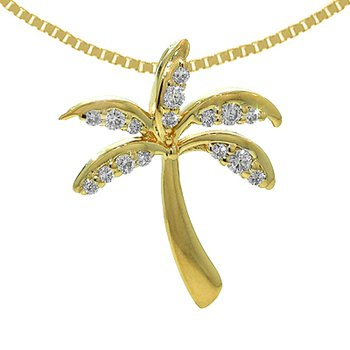 14k Yellow Gold Diamond Palm Tree Pendant