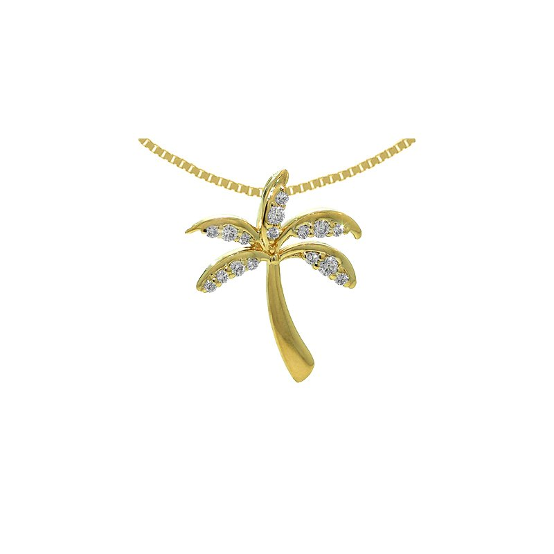 Sealife Jewelry 14k Yellow Gold Diamond Palm Tree Pendant