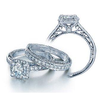 Verragio Venetian-5015CU - 14k White Gold Cushion Halo Diamond Engagement Ring by Verragio