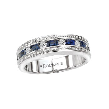 Sapphire and Diamond Ring in 18k White Gold - 117256-W