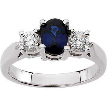 Genuine Sapphire & Diamond Ring - EL349134